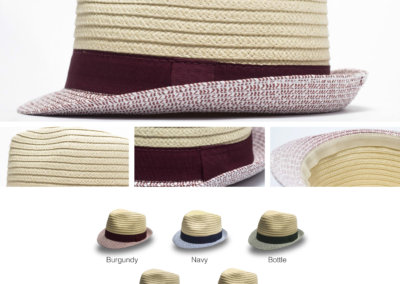 Headwear Catalogue 135 - Two-Tone Straw Ladies Fedora