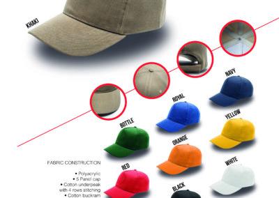 Headwear Catalogue 9 - 5 Panel Acrylic